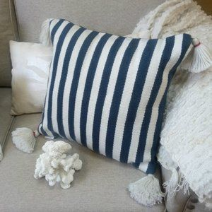 BEACH Cottage STRIPED OUTDOOR ACCENT Pillow